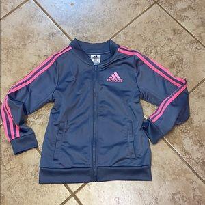 Adidas Big Girls Tricot Jacket -Gray and Pink